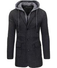 Stylový tmavě šedý pánský kabát