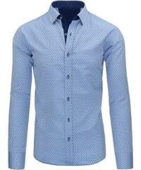 Moderní světle modrá pánská košile s dlouhým rukávem
