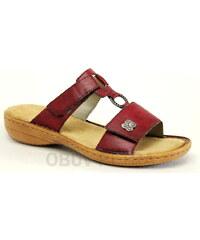 RIEKER 60829-35 red, dámské pantofle - dámská obuv