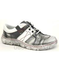 KACPER 2-1194 grey/white, dámské polobotky - dámská obuv