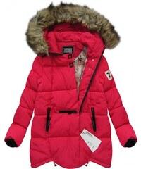 SPEED.A Zimní prošívaná bunda s kapucí červená (W801)