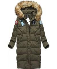 LJR Zimní kabát z přírodního chmýří khaki(8067)
