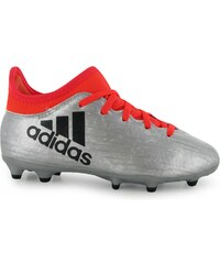 Adidas X 16.3 FG Football Boots Childrens, silver/solarred