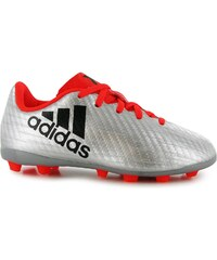 Adidas X 16.4 FG Football Boots Childrens, silver/solarred