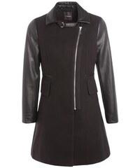 Manteau city manches simili-cuir Noir Polyester - Femme Taille 1 - Cache Cache