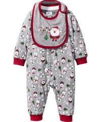 bpc bonprix collection Combinaison bébé + bavoir (Ens. 2 pces.) coton bio gris enfant - bonprix