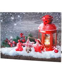 bpc living Impression sur toile à LED Noël rouge maison - bonprix
