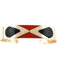 Ni une ni deux bijoux Massaï - Bracelet en or et en cuir mélangé - rouge