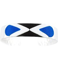 Ni une ni deux bijoux Massaï - Bracelet en argent et en cuir mélangé - bleu