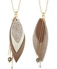 Ni une ni deux bijoux Pop Choco - Sautoir en or et en cuir - taupe