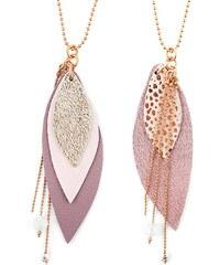 Ni une ni deux bijoux Pop - Sautoir en or et en cuir - rose