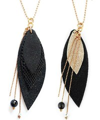Ni une ni deux bijoux Pop - Sautoir en or et en cuir - noir