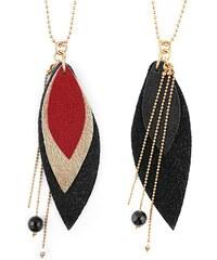 Ni une ni deux bijoux Pop - Sautoir en or et en cuir - rouge