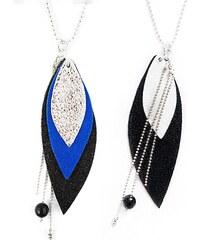 Ni une ni deux bijoux Pop - Sautoir en argent et en cuir - bleu