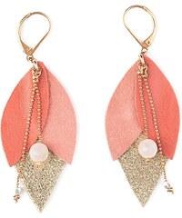 Ni une ni deux bijoux Tulipe - Boucle d'oreille en or et en cuir - corail
