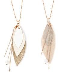 Ni une ni deux bijoux Pop - Sautoir en or et en cuir - blanc