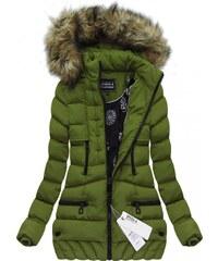 SPEED.A Zimní prošívaná bunda s kapucí zelená (W819)