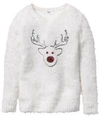 bpc bonprix collection Pullover mit Elchmotiv, Gr. 116/122-164/170 in weiß für Mädchen von bonprix