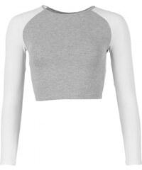 Essentials Raglan Crop Top, white/grey