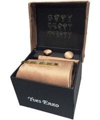 Yves Enzo Coffret de cravate, pince à cravate, boutons de manchette et pochette - beige