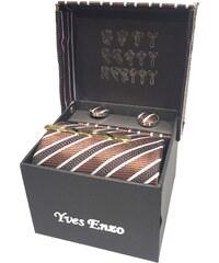 Yves Enzo Coffret de cravate, pince à cravate, boutons de manchette et pochette - choco