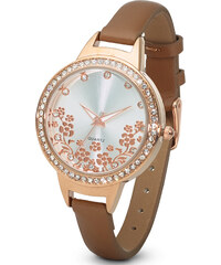 bpc bonprix collection Armbanduhr mit Blumenmotiv und Strass-Steinen in gold für Damen von bonprix