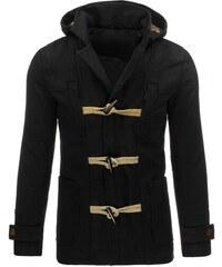 Černá zimní bunda s olivkami a odepínací kapucí