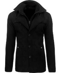 Seriózní zimní černý kabát s dvojitým límcem