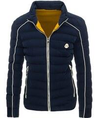 Fešácká tmavě modrá zimní bunda se žlutou podšívkou