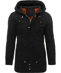 Stylová zimní černá pánská bunda s kapucí
