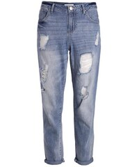 Jeans used destroyed coupe Boyfriend Bleu Coton - Femme Taille 34 - Cache Cache