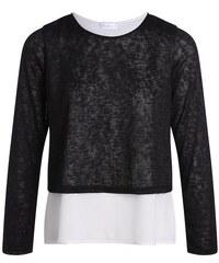 Pull bi-matière avec zip au dos Noir Polyester - Femme Taille 0 - Cache Cache