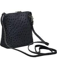 malá kožená kabelka s pštrosí texturou Grana Grigia Scura Struzza