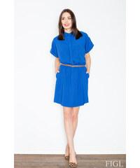 f64e5ac20ab3 FIGL Dámske modré šaty s krátkym rukávom M442