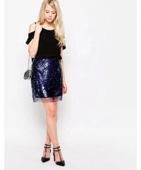 Jovonna - Carcon - Mini-jupe ornée de sequins - Bleu