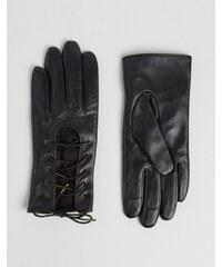 ASOS - Gants en cuir pour écran tactile avec lacets - Noir