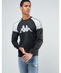Kappa - T-shirt à manches longues avec grand logo et bandes - Noir
