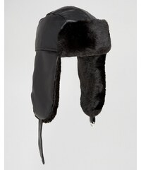 ASOS - Chapka en imitation cuir - Noir - Noir