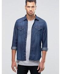Replay - Chemise en jean à délavage foncé - Bleu