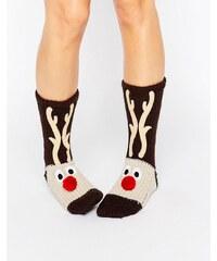 Loungeable - Chaussettes de Noël en grosse maille motif renne - Marron
