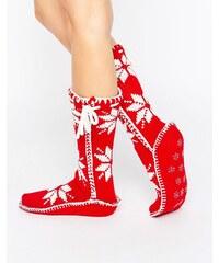 Loungeable - Chaussettes de Noël style tricot nordique - Rouge - Rouge