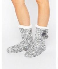 Loungeable - Chaussettes à bordures et pompons en maille chinée - Gris