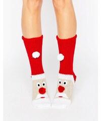 Loungeable - Chaussettes de Noël en grosse maille motif Père Noël - Rouge