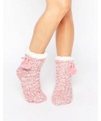 Loungeable - Chaussettes à bordures et pompons en maille chinée - Rose