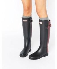 Hunter - Hautes bottes de pluie authentiques raffinées et contrastées avec sangle arrière - Noir
