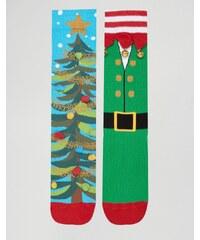 ASOS - Lot de 2 paires de chaussettes de Noël avec cloches - Multi