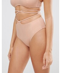 ASOS - Bas de bikini taille haute avec découpes - Rose