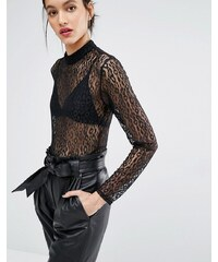 Just Female - Demi - Body en dentelle à imprimé léopard - Noir