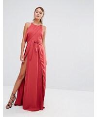 Stylestalker - Maxikleid mit geschnürtem Vorderteil und hohem Schlitz - Rot