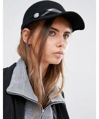 Calvin Klein - Strukturierte Kappe mit kariertem Kontrastband - Schwarz